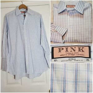 Thomas Pink Check Plaid French Cuff Dress Shirt